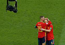 MOSCOW, RUSSIA - Sunday, July 1, 2018: Adios... Spain's Sergio Ramos and Andres Iniesta embrace after losing 4-3 on penalties during the FIFA World Cup Russia 2018 Round of 16 match between Spain and Russia at the Luzhniki Stadium. (Pic by David Rawcliffe/Propaganda)