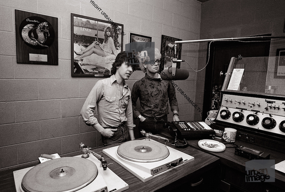 Adam Clayton U2 in the WXRT Studio with producer Steve Lillywhite - Chicago 1981