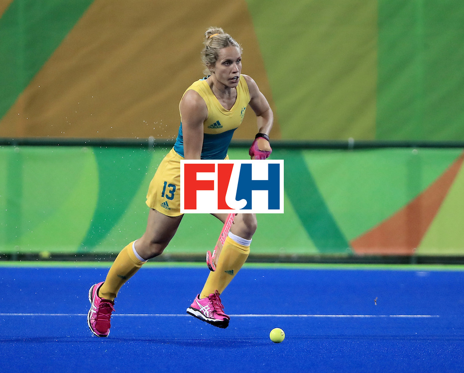 RIO DE JANEIRO, BRAZIL - AUGUST 11:  Edwina Bone #13 of Australia controls the ball during a Women's Preliminary Pool B match against Argentina at the Olympic Hockey Centre on August 11, 2016 in Rio de Janeiro, Brazil.  (Photo by Sam Greenwood/Getty Images)