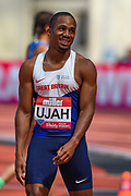 Chilindu Utah of Great Britain  after winning the Men's 100m Final during the Muller Anniversary Games at the London Stadium, London, England on 9 July 2017. Photo by Martin Cole.