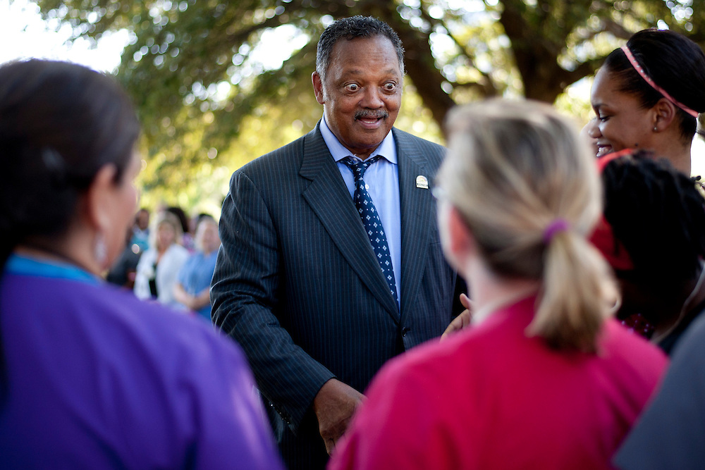 Rev. Jesse Jackson greets hospital employees during a prayer vigil for Duncan at Texas Health Presbyterian Hospital on October 7, 2014, in Dallas. (Cooper Neill for The New York Times)