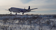 "The Everts Air Fuel DC-6 ""Aviator"" prepares to touch down at the Umiat airport on Friday, March 8, 2013."
