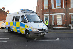 © Licensed to London News Pictures. 19/02/2012. Folkstone. UK. Police outside the property. A man wanted by police over the killing of a vicar near Bristol has been arrested in a house in Black Bull Road, Kent. Stephen Farrow, 47, was arrested in Folkestone in the easy hours of the morning, 19 February 2012, on suspicion of the murder of the Reverend John Suddards. Photo credit : Grant Falvey/LNP
