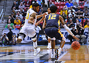 SAN DIEGO, CA - MARCH 16:  West Virginia Mountaineers guard James Bolden (3) presses Murray State Racers guard Ja Morant (12) during a first round game of the Men's NCAA Basketball Tournament at Viejas Arena in San Diego, California.  (Photo by Sam Wasson)