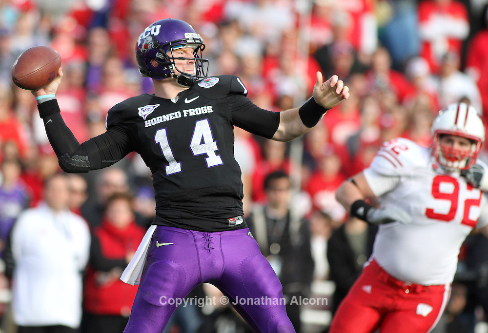 TCU QB Andy Dalton throws a pass in the first half against Wisconsin in the 2011 Rose Bow in Pasadena, California