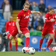 Liverpool midfielder Jordan Henderson (14) warms up before the Premier League match between Chelsea and Liverpool at Stamford Bridge, London, England on 22 September 2019.