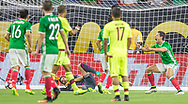 Javier Hernandez, right, celebrates with teammates after goalkeeper Dani Hernandez of Venezuela, center, fails to stop a strike on target by Mexico's Jesus Manual Corona in the second half of a group stage match for the Copa America Centenario at NRG Stadium in Houston,Texas, on Monday June 13, 2016. The goal would tie the game and give Mexico the first place of the group over Venezuela due to goal differential avoiding Argentina in the Quarterfinals. Mexico advanced to loose by 7-0 against Chile in a historic result.
