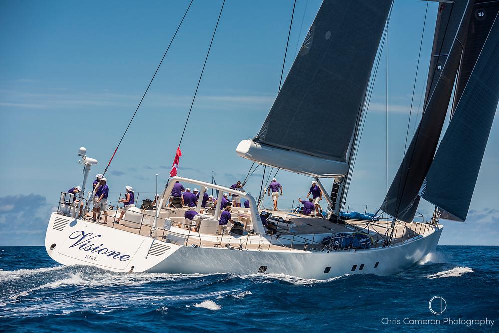 Bermuda, 14th June 2017. America's Cup Superyacht regatta. Race two. Visione.