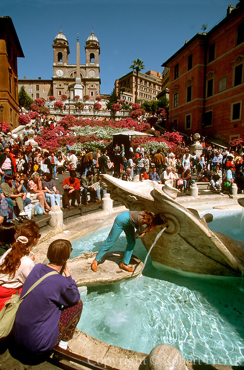 ITALY, ROME Piazza di Spagna or Spanish Steps completed in 1726; Baroque architecture, with the Church of Trinita Dei Monte at the top