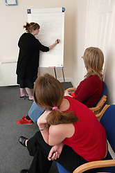 Woman tutor using flip chart during a training session for project workers,