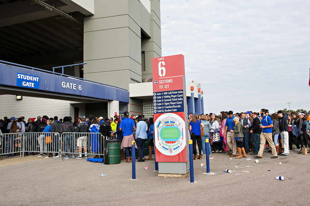 MEMPHIS, TN - OCTOBER 17:  Students of the Memphis Tigers line up to enter through the Student Gate before a game against the Ole Miss Rebels at Liberty Bowl Memorial Stadium on October 17, 2015 in Memphis, Tennessee.  (Photo by Wesley Hitt/Getty Images) *** Local Caption ***