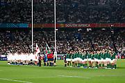 Teams during anthems before the World Cup Japan 2019, Final rugby union match between England and South Africa on November 2, 2019 at International Stadium Yokohama in Yokohama, Japan - Photo Yuya Nagase / Photo Kishimoto / ProSportsImages / DPPI