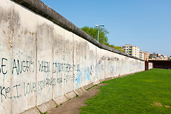 Original section of wall at Berlin Wall Memorial on Bernauer Strasse , Berlin, Germany. The Gedenkstätte Berliner Mauer commemorates the division of Berlin by the Berlin Wall and the deaths that occurred there. The monument was created in 1998 by the Federal Republic of Germany and the Federal State of Berlin.