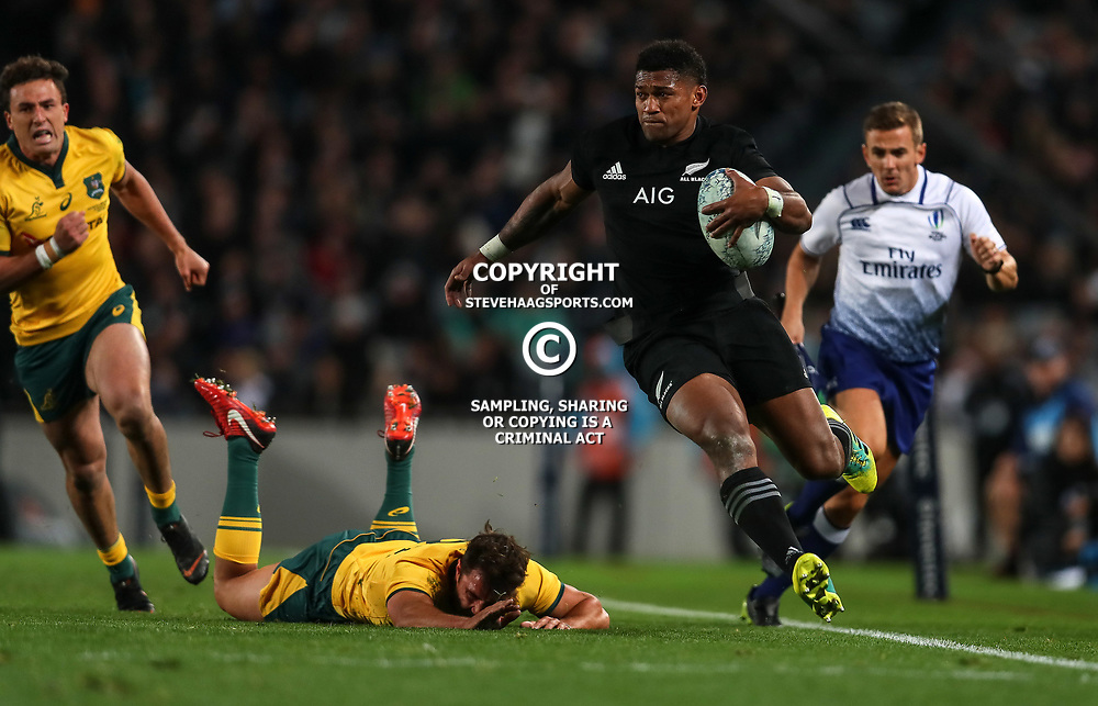 Waisake Naholo in action during the Bledisloe Cup and Rugby Championship rugby match between the New Zealand All Blacks and Australia Wallabies at Eden Park in Auckland, New Zealand on Saturday, 25 August 2018. Photo: Simon Watts / lintottphoto.co.nz