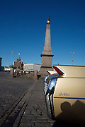 During summer from June to Septemper, every first Friday of the month is Vintage Car Cruising Night. Hundreds of classic American cars cruise around downtown Helsinki and meet at special places to have a good time, here at Kauppatori (Market Square), Uspenski orthodox cathedral in background. Fins of a Cadillac DeVille cabriolet.