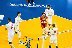 06.01.2016, Max Schmeling Halle, Berlin, GER, CEV Olympia Qualifikation, Frankreich vs Russland, im Bild Kevin Tillie (#7, Frankreich), Jenia Grebennikov (#2, Frankreich), Earvin Ngapeth (#9, Frankreich, France) // 2016 CEV Volleyball European Olympic Qualification Match between France and Russia at the Max Schmeling Halle in Berlin, Germany on 2016/01/06. EXPA Pictures © 2016, PhotoCredit: EXPA/ Eibner-Pressefoto/ Wuechner<br /> <br /> *****ATTENTION - OUT of GER*****
