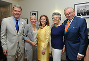 Hunter College President Jennifer J. Raab, center, welcomes new CUNY Chancellor J.B. Milliken and his wife Nana Smith with Hunter alumna Klara Silverstein and Larry Silverstein at the Hunter College Summer Garden Party, Tuesday, July, 8, 2014, at Roosevelt House in New York. (Photo by Diane Bondareff/Invision for Hunter College/AP Images)