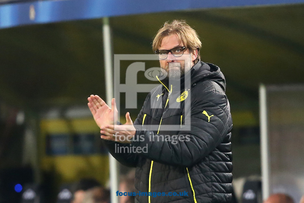 Jurgen Klopp, former Borussia Dortmund manager, has been linked to the vacant post at Liverpool FC following the sacking of Brendan Rodgers earlier today. <br /> Picture by Focus Images/Focus Images Ltd 07814 482222<br /> 04/10/2015<br /> <br /> FIL DORTMUND MADRID 61.jpg<br /> <br /> File image for live news.<br /> <br /> Original caption:<br /> <br /> Manager of Borussia Dortmund, Jurgen Klopp acknowledges the vocal home support during the UEFA Champions League match against Real Madrid at Westfalenstadion, Dortmund<br /> Picture by Richard Calver/Focus Images Ltd +447792 981244<br /> 08/04/2014