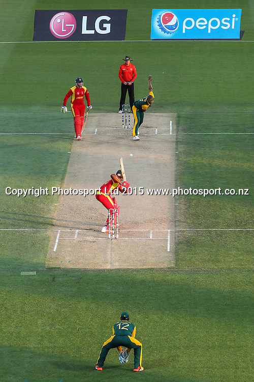 General view of play during the ICC Cricket World Cup match - South Africa v Zimbabwe at Seddon Park, Hamilton, New Zealand on Sunday 15 February 2015.  Photo:  Bruce Lim / www.photosport.co.nz