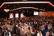Crowd atmosphere at the tables at the Beverly Hilton.