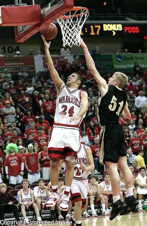HLV junior Bryce Hasley goes up for two against Guthrie Center in the first round of the Iowa State Boy's Basketball Tournament in Des Moines on March 3, 2008. HLV won 52-45.