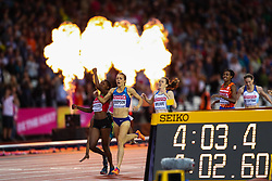 London, 2017 August 07. Faith Chepngetich Kipyegon, Kenya, wins the women's 1,500m final with Jennifer Simpson, USA, and Caster Semenya, South Africa, third on day four of the IAAF London 2017 world Championships at the London Stadium. © Paul Davey.