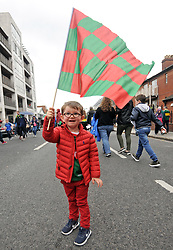 Still flying the flag 2 year old James Wall from Ballina on his way to the  All Ireland Semi Final against Kerry at Croke Park.<br />Pic Conor McKeown