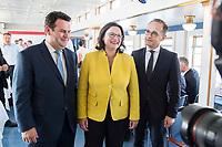 05 JUN 2018, BERLIN/GERMANY:<br /> Hubertus Heil (L), SPD, Bundesarbeitsminister, Andrea Nahles (M), SPD Partei- und Fraktionsvorsitzende, Heiko Maas (R), SPD, Bundesaussenminister, Spargelfahrt des Seeheimer Kreises der SPD, Anleger Wannsee<br /> IMAGE: 20180605-01-077