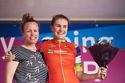 Winanda Spoor (NED) earns the combativity award at Healthy Ageing Tour 2018 - Stage 5, a 94.3 km road race in Groningen on April 8, 2018. Photo by Sean Robinson/Velofocus.com