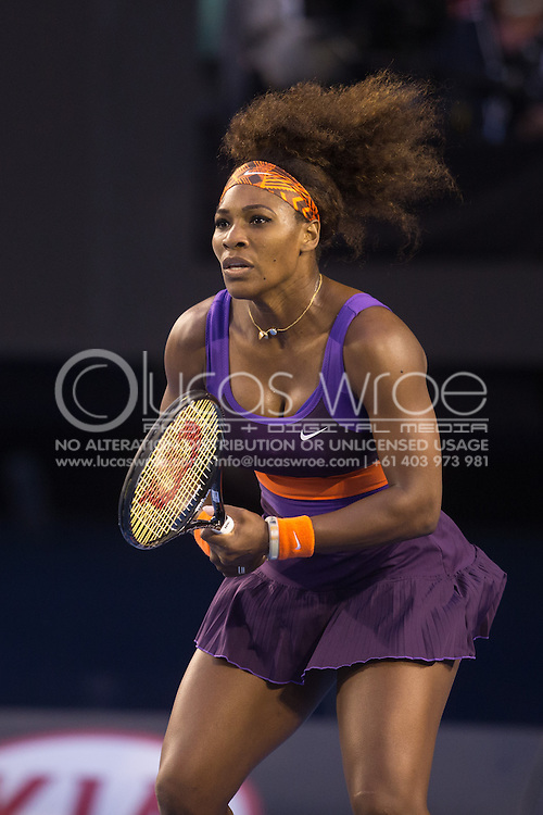 Serena Williams (USA). Day 9. Quater Finals. Melbourne Olympic Park, Melbourne, Victoria, Australia. 22/01/2013. Photo By Lucas Wroe