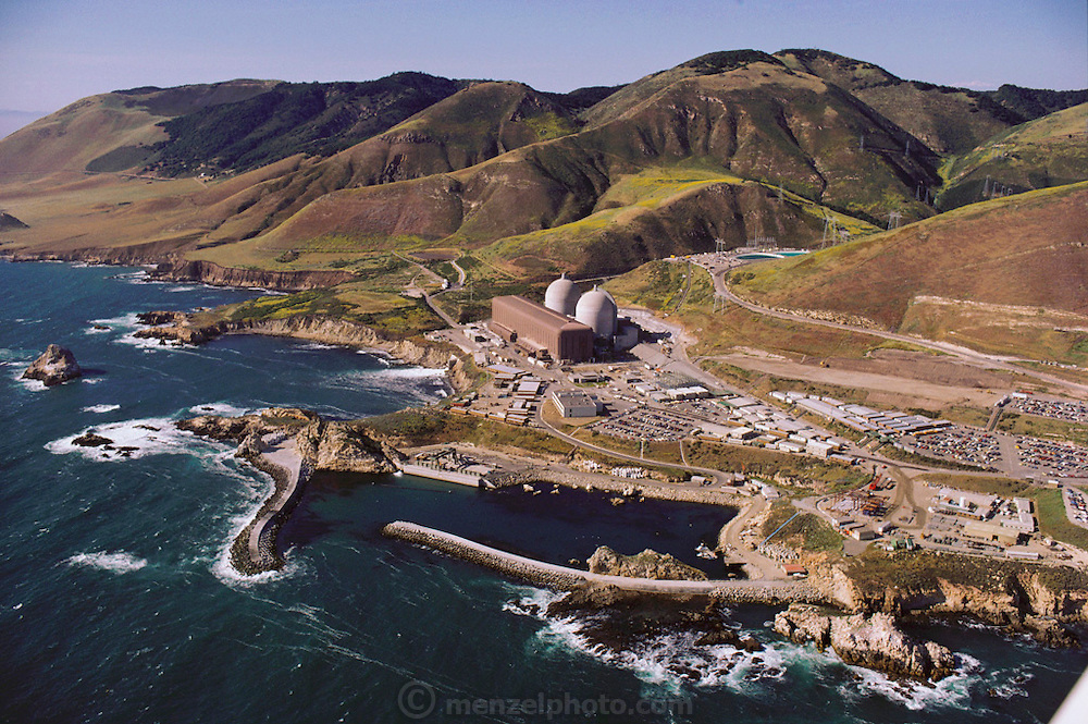 View of the Diablo Canyon Nuclear Power Plant in California. The plant has two reactor units, which combined have a net power capacity of nearly 1200 megawatts. The plant, operated by the Pacific Gas and Electric company, became commercially operational in 1977.