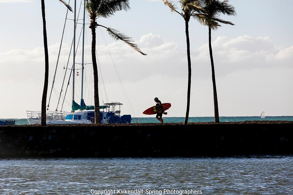 HI00417-00...HAWAI'I - Kite surfer at Anaeho'omalu Bay on the Kona Coast of the island of Hawai'i.