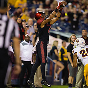 15 September 2018: San Diego State Aztecs wide receiver Tim Wilson Jr. (6) catches a nine yard pass for a touchdown in the second quarter tying the game at fourteen. The Aztecs beat the Sun Devils 28-21 at SDCCU Stadium in San Diego, California.
