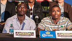 CARSON - MAY 31:Unbeaten power puncher Lateef 'Power' Kayode (L) and Boxer Peter 'Kid Chocolate' Quillin at Home Depot Center Press Conference. All fees must be ageed prior to publication,.Byline and/or web usage link must read PHOTO Eduardo E. Silva/SILVEX.PHOTOSHELTER.COM Failure to byline correctly will incur double the agreed fee.