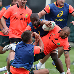 PADUA, ITALY - NOVEMBER 17: Handre Pollard and Teboho Oupa Mohoje tackling Cornal Hendricks during the South African national rugby team training session at Stadio Plebiscito on November 17, 2014 in Padua, Italy. (Photo by Steve Haag/Gallo Images)