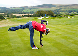 Auchterarder, Scotland, UK. 12 September 2019. Final practice day at 2019 Solheim Cup on Centenary Course at Gleneagles. Pictured; Jessica Korda drives on the 8th hole. Iain Masterton/Alamy Live News