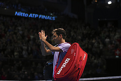 November 18, 2017 - London, England, United Kingdom - Roger Federer of Switzerland applauds the crowd after defeat against David Goffin (7) of Belgium in their semi-final match today - Goffin def Federer 2-6, 6-3, 6-4 at O2 Arena on November 18, 2017 in London, England. (Credit Image: © Alberto Pezzali/NurPhoto via ZUMA Press)