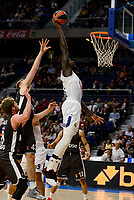 Real Madrid's Othello Hunter and Brose Bamberg's Leon Radosevic and Lucca Steiger during Turkish Airlines Euroleague between Real Madrid and Brose Bamberg at Wizink Center in Madrid, Spain. December 20, 2016. (ALTERPHOTOS/BorjaB.Hojas)
