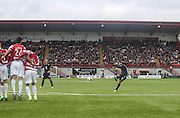 Peter MacDonald fires in a free kick - Hamilton v Dundee, SPFL Championship at <br /> New Douglas Park<br /> <br />  - &copy; David Young - www.davidyoungphoto.co.uk - email: davidyoungphoto@gmail.com