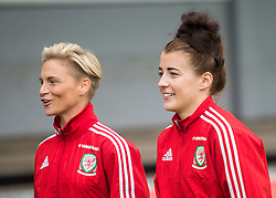 NEWPORT, WALES - Tuesday, September 20, 2016: Wales' Jessica Fishlock and Angharad James arrive at Rodney Parade ahead of the UEFA Women's Euro 2017 Qualifying Group 8 match against Austria. (Pic by Laura Malkin/Propaganda)