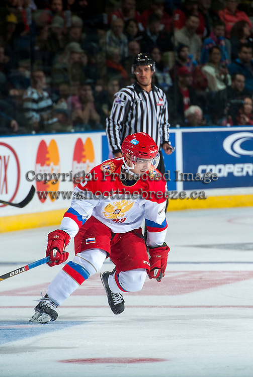 KELOWNA, CANADA - NOVEMBER 9: Kirill Pilipenko #13 of Team Russia skates against the Team WHL on November 9, 2015 during game 1 of the Canada Russia Super Series at Prospera Place in Kelowna, British Columbia, Canada.  (Photo by Marissa Baecker/Western Hockey League)  *** Local Caption *** Kirill Pilipenko;