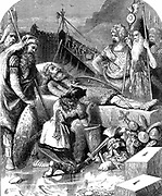 Alaric I (c370-410) King of Visigoths from 395. Death of Alaric at Cosenza. Woodcut illustration 1872.