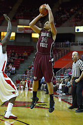 12 February 2011: Kyle Weems shoots the three during an NCAA Missouri Valley Conference basketball game between the Missouri State Bears and the Illinois State Redbirds at Redbird Arena in Normal Illinois.