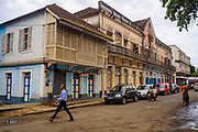 Colonial buildings in São Tomé, the capital city of São Tomé and Principe archipelago