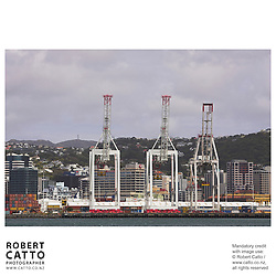 Cranes at Centreport seen from Lambton Harbour, Wellington, New Zealand.<br />