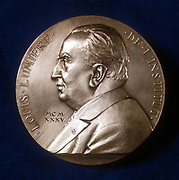 Louis Jean Lumiere (1864-1948), French chemist and pioneer of cinematography. Collaborated with his elder brother, Auguste. From obverse of commemorative plaquette.