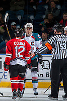 KELOWNA, CANADA - JANUARY 28: Rodney Southam #17 of the Kelowna Rockets gets in the face of Ilijah Colina #12 of the Portland Winterhawks on January 28, 2017 at Prospera Place in Kelowna, British Columbia, Canada.  (Photo by Marissa Baecker/Shoot the Breeze)  *** Local Caption ***