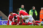 Charlton celebrate a late equaliser by Charlton Athletic midfielder Andrew Crofts (8) 1-1 during the EFL Sky Bet League 1 match between Southend United and Charlton Athletic at Roots Hall, Southend, England on 31 December 2016. Photo by Jon Bromley.