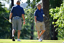 Paul Johnson and Jon Barry during the Chick-fil-A Peach Bowl Challenge at the Oconee Golf Course at Reynolds Plantation, Sunday, May 1, 2018, in Greensboro, Georgia. (Dale Zanine via Abell Images for Chick-fil-A Peach Bowl Challenge)