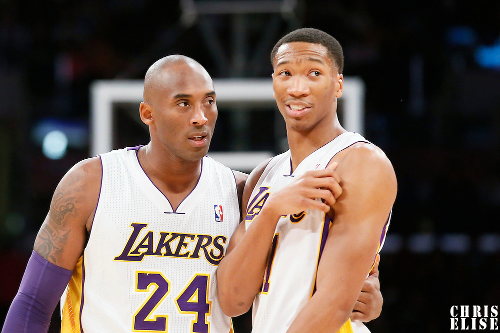 08 December 2013: Los Angeles Lakers shooting guard Kobe Bryant (24) talks to Los Angeles Lakers shooting guard Wesley Johnson (11) during the Toronto Raptors 106-94 victory over the Los Angeles Lakers at the Staples Center, Los Angeles, California, USA.